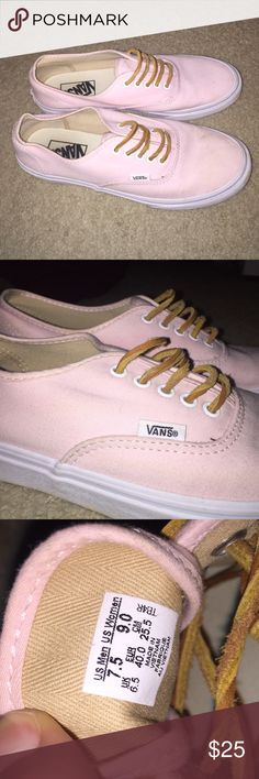 Baby Pink Vans!! Very cute and go with everything!! They are a little bit dirty from being worn but they clean up easy!! Vans Shoes Sneakers