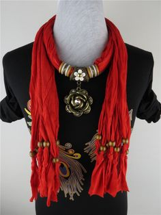 Canada Fashion Flora with Crystal Pendant Scarf Wholesale Scarf Necklace, Scarf Jewelry, Fabric Beads, Fabric Jewelry, Diy Bracelets And Earrings, Scarf Tying Tutorial, Mix Match Outfits, Diy Scarf, Fashion Moda