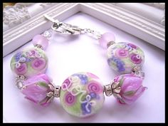Live Love Laugh Quote Bracelet, Floral Rose Lampwork Bracelet, Pink Rose Lampwork Bracelet, Lampwork Jewelry By JKS Designs.