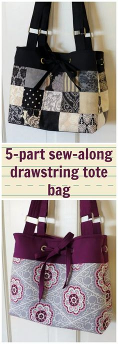 Full sew-along tutorial for how to make this drawstring purse. Can be made in patchwork too - instructions to that option as well. I learned lots of new bag skills and got a great bag at the end - great sew-along. Source by and purses Sacs Tote Bags, Tote Purse, Patchwork Bags, Quilted Bag, Crazy Patchwork, Patchwork Designs, Patchwork Patterns, Quilted Purse Patterns, Patchwork Tutorial