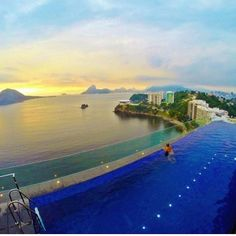 Endless views from the infinity pool at the H Niteroi Hotel in Niteroi, Brazil