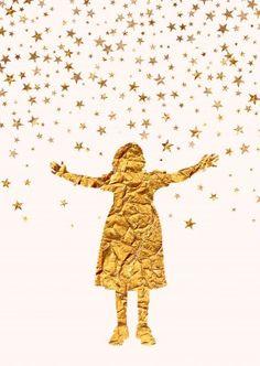 Kubistika Mädchen in gold
