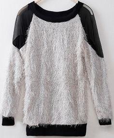Grey Batwing Sleeve Contrast Mesh Yoke Backless Sweater US$31.90