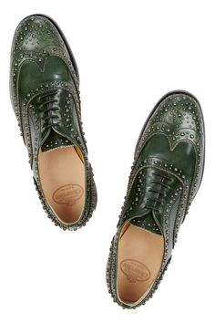 Church's | Burwood studded glossed-leather brogues | NET-A-PORTER.COM