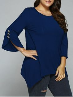 GET $50 NOW | Join RoseGal: Get YOUR $50 NOW!http://www.rosegal.com/plus-size-blouses/button-embellished-sleeve-asymmetrical-blouse-825298.html?seid=7140940rg825298