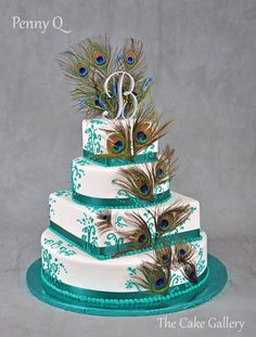 Wedding Cake Photos | The Cake Gallery Omaha. wedding cake with teal color and peacock feathers