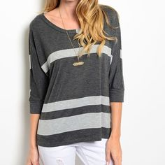 """CHARCOAL GRAY AND WHITE TOP Sweater top features 3/4 sleeves, striped print design and flowy fit. Super comfy!!  62.5% polyester 33.5% rayon 4% spandex. Length 24"""" Bust 23"""" Waist 23"""".  small - 4 medium - 2 large - 0 Please comment size needed below and I will make a listing just for you!  If you would like a bundle allow me to make one for you instead of using the automated feature  NO PAYPAL NO TRADES. Price firm unless bundled. Tops"""