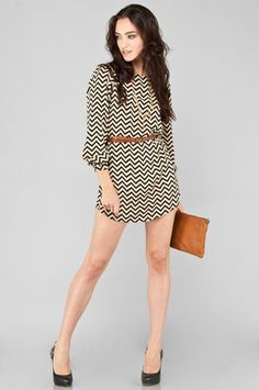 Everly Zig Zag Dress in Black & Beige