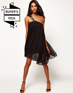 ASOS Mesh Swing Dress With Embellished Strap... comes in nude