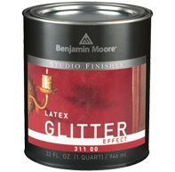 Studio Finishes Latex Glitter Effect (311) is a topcoat that adds an iridescent sparkle to any previously painted interior surface Goes on easily and is washable Resists spattering during application Dries to a decorative finish that is extremely durable Formulated to minimize lingering odors Soap and water clean-up Dries quickly $18/qt