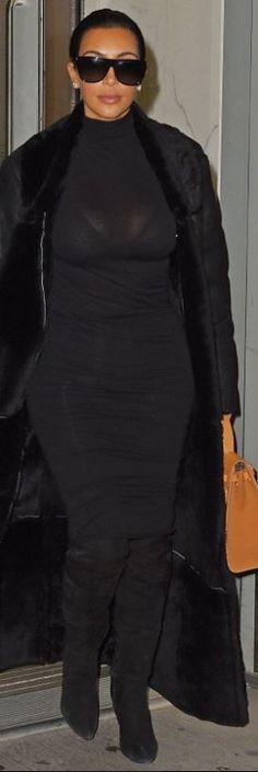 Kim Kardashian: Sunglasses – Celine Purse – Hermes Shoes – Alexander Wang Skirt – Wolford