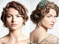 Boho Chic hairstyle with headpiece, Bob wedding hairstyle with leaflet headband, Short curly bridal hairs with gold plated comb, Vintage twist bridal hair with Bridal Hairstyles With Braids, Bob Wedding Hairstyles, Bridal Braids, Braided Hairstyles Tutorials, Modern Hairstyles, Feathered Hairstyles, Loose Hairstyles, Hairstyle Ideas, Light Brunette Hair