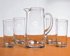 #Engraved Pitcher and Beverage Glass Set, #Personalized Pitcher