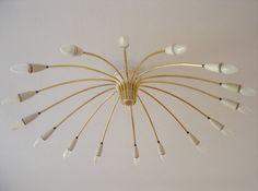 HUGE Mid Century Modern SPUTNIK Atomic 16-Armed CHANDELIER | Ceiling Light Lamp Ø 90 cm | 1950s