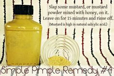 Mustard is high in natural salicylic acid which is great for a single simple pimple treatment. This page has other ideas on how to cure zits naturally, too!