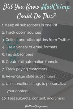 10 Advanced MailChimp Features You Probably Forgot About - Lately MailChimp has gotten a reputation for being a reputation for being a beginner's tool only. That couldn't be further from the truth. Here are some advanced email marketing features you might not have known about in MailChimp, from delivering content upgrades to tracking paying customers. www.brittanyberge...