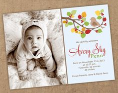Autumn bird birth announcement 5x7 Printable jpeg OR by Gretchee, $15