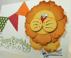 "Punch art lion details-Blossom Builder,  Petite Pennants Builder Punch, Owl Builder (for heart), 3/4"" circle punch,   1-3/8"" circle punch,  More Mustard and So Saffron cardstock., Polka Dot Parade DSP pack., Perfectly Penned stamp set ,"