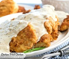 You know you& in the South when Chicken Fried Chicken with Peppered Milk Gravy shows up on the menu. Made with boneless chicken pieces it the provides the perfect foundation for a generous drizzle of rich peppered milk pan gravy. Country Fried Chicken, Making Fried Chicken, Fried Chicken Breast, Chicken Fried Steak, Fried Chicken Recipes, Steak Recipes, Cooking Recipes, Boneless Chicken, Chicken Breasts