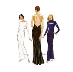 90s Formal EVENING GOWN PATTERN Sexy Fitted Cut Out Evening Dress Vogue 9568 by DesignRewindFashions - Vintage & Moderns Sewing Patterns