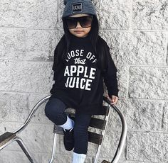 Loose Off That Apple Juice Toddler Tee - Baby Truth Hipster Baby Clothes, Hipster Babies, Cute Baby Clothes, Baby Girl Fashion, Kids Fashion, Cute Kids, Cute Babies, Toddler Girl Outfits, Kids Outfits