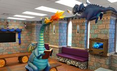 Pediatric Dental Office Waiting Room transformed into Fantasy Castle with Dragons by Imagination Dental Solutions