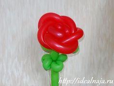 Роза из длинных шариков
