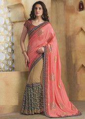 Peach & Light Coffee Color Half Satin Chiffon & Half Georgette Party Wear Sarees : Anuja Collection YF-32755