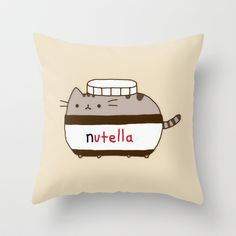 Nutella Cat Throw Pillow by Marvin Fly - $20.00