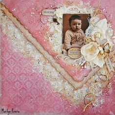 Marilyn Rivera- A page using the beautiful Soulmates collection by 7Dots Studio. Art basics, flowers, lace by Prima Marketing.