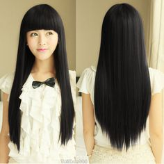 Hot Sell Fashion Long Black Straight Neat Bangs Women's Lady Hair Wig Wigs + Cap   Health & Beauty, Hair Care & Styling, Hair Extensions & Wigs   eBay!