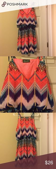 Colorful print dress Gorgeous dress bought from a local boutique! EUC worn a couple  of times! Very flattering! Make me an offer! maude Dresses