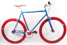 No Logo Alloy Blue/Red Limited Edition Fixed Gear Single Speed Bike - Fixed Gear Frenzy Fixed Gear Bike, Speed Bike, Gears, Bicycle, Cycling, Blue, Veil, Tools, Fixed Gear
