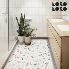 terrazo flooring Vinyl sticker with terrazzo textures printed to decorate the floor Bathroom Vinyl, Bathroom Flooring, Bathroom Interior, Terrazo Flooring, Plank Flooring, Grunge Room, Floor Decor, Küchen Design, Home Decor