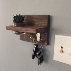 Key holder, apartment decor, small wall key holder, succulent, coat rack, mason jar shelf, key hook, gift idea, mothers day gift, dorm decor by NewLoveDecor on Etsy https://www.etsy.com/listing/467399542/key-holder-apartment-decor-small-wall