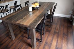 Dining Room Table: 2x6s, 4x4s, and some 2x2s. Take apple cider vinegar and marinade some steel wool in the vinegar it creates an aged, antique type of stain.