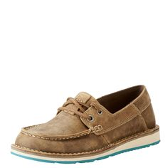 Women's Castaway Brown Bomber Lace Up Ariat Cruiser Womens Fashion Sneakers, Fashion Shoes, Women's Fashion, Cute Shoes, Me Too Shoes, Western Shoes, Western Wear, Indian Shoes, Brown Sneakers