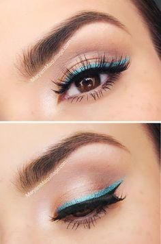 to wear turquoise eyeliner for summer makeup routine? -How to wear turquoise eyeliner for summer makeup routine? - Beautiful 😍 By: Then & Now Eyeshadow Palette - Cheers to 20 Years Collection - Too Faced Kajal Eyeliner, Blue Eyeliner, Eyeliner Looks, Double Eyeliner, Glitter Eyeliner, Eyeliner Liquid, Liquid Liner, Glitter Makeup, Prom Makeup