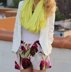 Floral shorts. As seen on Brooklyn Blonde.