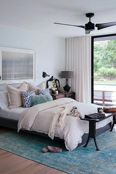 My bedroom is certainly my sanctuary. The ABC Color Reform silk rug was a very indulgent purchase and upon it sits the Ikea MALM bed, costing less than $300. Juxtaposition! The Ikea bed was primed and painted a deep-graphite tone. The dreamy horizon photography is by local artist Mary Ellen Bartley from Ruby Beets. #refinery29 http://www.refinery29.com/eye-swoon/6#slide-7