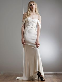 Strapless Silk Crepe Sheath Wedding Dress with Rose Covered Bustier and Off-the-Shoulder Draped Swags  | Elizabeth Fillmore Spring 2018