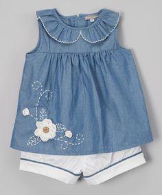 Blue Floral Appliqué Denim Top & Shorts - Infant & Toddler