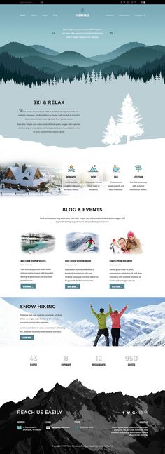 Joomla Ski Template - Hot Snowflake - This winter, we decided to redesign one of our oldest templates. template Hot Snowflake got a completely new design inspired by Web Design Jobs, Web Design Examples, Web Design Quotes, Website Design Layout, Web Layout, Layout Design, Ux Design, Webdesign Layouts, Email Template Design