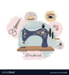 Sewing workshop or tailor shop hand drawn vintage vector image on VectorStock Sewing Machine Drawing, Sewing Clipart, Tailor Shop, Logo Inspiration, Sewing Art, Shop Logo, Cute Illustration, Vintage Sewing, Embroidery Designs