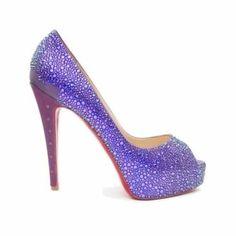 Louboutin purple high heel shoe  style