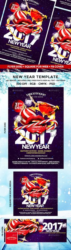 New Year Flyer — Photoshop PSD #4x6 #club • Download ➝ https://graphicriver.net/item/new-year-flyer/18843675?ref=pxcr