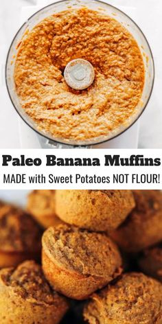 51 calorie banana muffins made out of special potatoes rather than flour! Nutritious paleo banana bread muffins help make simple paleo breakfasts for on the run. Kid helpful paleo snack thought. Sweet Potato Flour, Sweet Potato Muffins, Paleo Sweet Potato, Sweet Potato Breakfast, Comidas Paleo, Desayuno Paleo, Paleo Banana Muffins, Healthy Muffins, Banana Recipes Paleo