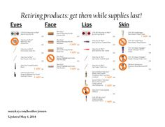 May 1 update on retired products. Current customers and anyone without a consultant, message me for details on my special! #fridayfollowup marykay.com/heather.jensen