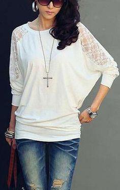 Batwing Top Dolman Long Sleeve Lace Loose T-Shirt
