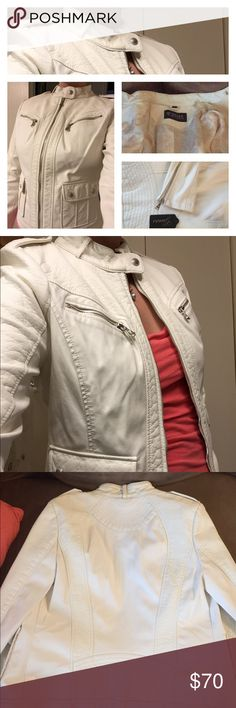 NWT Guess leather jacket White with lined interior. Zippers on sleeves. Pockets on bottom front. Size M Guess Jackets & Coats